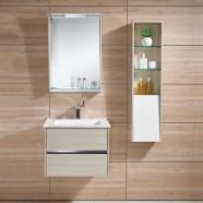 24 po Meuble Salle de Bain Suspendu au Mur à Lavabo Simple avec Miroir et Armoire (DK-605600)