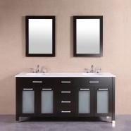 60 po Meuble Salle de Bain sur Pieds à Lavabo Double avec Deux Miroirs (DK-T9197-60)