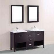 60 po Meuble Salle de Bain sur Pieds à Lavabo Double avec Deux Miroirs (DK-T9225-60E)