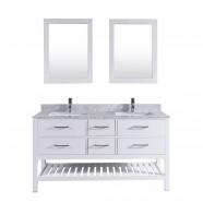 60 po Meuble Salle de Bain sur Pieds à Lavabo Double avec Deux Miroirs (DK-T9223-60)