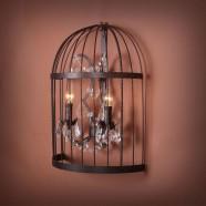 Lustre Cage Vintage en Fer à 2 Lumières - Rouille (DK-5006-B2)