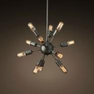 Suspension Spoutnik Vintage en Fer à 12 Lumières - Noir Mat (DK-5010-D12A)