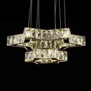 Suspension LED Moderne en Cristal et Acier Inoxydable à Télécommande (DK-LD06128-2)