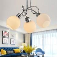Lustre Moderne avec Abat-jour en Verre à 3 lumières - Fer Chromé (HKC31391-3)