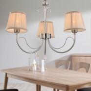 Lustre Moderne en Fer avec Abat-jour en Tissu à 3 Lumières (HKP31263-3)