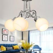 Lustre Moderne avec Abat-jour en Verre à 5 lumières - Fer Chromé (HKC31391-5)
