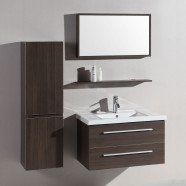 32 po Meuble Salle de Bain Suspendu au Mur à Lavabo Simple avec Miroir et Armoire (DK-T5165B-SET)