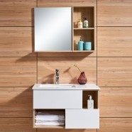 39 po Meuble Salle de Bain Suspendu au Mur à Lavabo Simple avec Miroir LED et Armoire Latérale (DK-675100-SET)