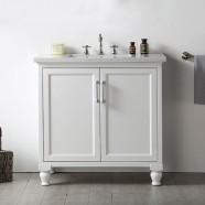 36 po Meuble Salle de Bain sur Pieds à Lavabo Simple sans Miroir (DK-6536-W)
