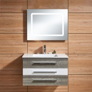 31 po Meuble Salle de Bain Suspendu au Mur à Lavabo Simple avec Miroir LED (DK-669800-SET)