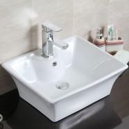Decoraport Lavabo-Vasque Rectangle de Dessus de Comptoir en Céramique Blanche (CL-1097)
