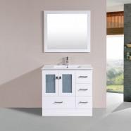 """Ensemble 3 pièces avec vanité 36"""", lavabo et miroir assorti (DK-T9312-36W-SET)"""