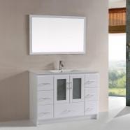 """Ensemble 3 pièces avec vanité 48"""", lavabo et miroir assorti (DK-T9312-48W-SET)"""
