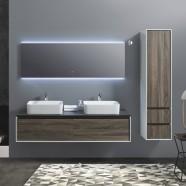 """Ensemble meuble salle de bain avec vanité 60"""", miroir LED, deux lavabos et cabinet latéral (AG1500D-SET)"""