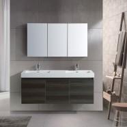 """Ensemble meuble salle de bain avec vanité 54"""", miroir, deux lavabos (JD054-SET)"""