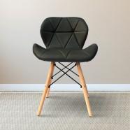 Chaise rembourrée en cuir PU Belleze en noir (T828E004-BK)