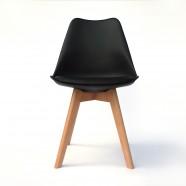 Chaise de salle à manger en cuir PU en noir (T826E003-BK)