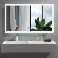 DECORAPORT 48 x 28 Po Miroir de Salle de Bain LED avec Bouton Tactile, Anti-Buée, Luminosité Réglable, Montage Vertical & Horizontal (D108-4828)