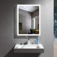 Decoraport 20 x 28 Po Miroir de Salle de Bain LED avec Bouton Tactile, Anti-Buée, Luminosité Réglable, Montage Vertical & Horizontal (N031-2028-TS)