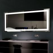Decoraport 60 x 28 Po Miroir de Salle de Bain LED avec Bouton Tactile, Anti-Buée, Luminosité Réglable, Montage Vertical & Horizontal (CK010-6028-TS)