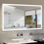 Decoraport 55 x 36 Po Miroir de Salle de Bain LED avec Bouton Tactile, Bluetooth, Anti-Buée, Luminosité Réglable, Montage Vertical & Horizontal (N031-5536-TX)