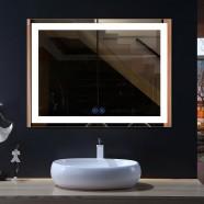 Decoraport 55 x 36 Po Miroir de Salle de Bain LED avec Bouton Tactile, Bluetooth, Anti-Buée, Luminosité Réglable, Montage Vertical & Horizontal (CK010-4836-TX)