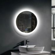 Decoraport 24 x 24 Po Miroir de Salle de Bain LED avec Bouton Tactile, Anti-Buée, Luminosité Réglable, Montage Vertical (YT01-2424)