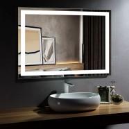 Decoraport 48 x 36 Po Miroir de Salle de Bain LED avec Contrôle du Capteur Infrarouge, Anti-Buée, Montage Vertical & Horizontal (CK010-4836-GS)