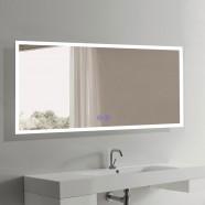 Decoraport 70 x 32 Po Miroir de Salle de Bain LED avec Bouton Tactile, Anti-Buée, Luminosité Réglable, Montage Vertical & Horizontal (N031-7032-TS)