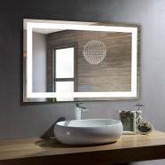 DECORAPORT 40 x 28 Po Miroir de Salle de Bain LED/Miroir Chambre avec Bouton Tactile, Anti-Buée, Luminosité Réglable, Montage Vertical & Horizontal (D210-4028)