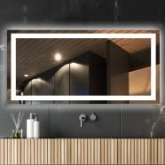 DECORAPORT 84 x 40  Po Miroir de Salle de Bain LED/Miroir Chambre avec Bouton Tactile, Anti-Buée, Luminosité Réglable, Montage Vertical & Horizontal (CT01-8440)