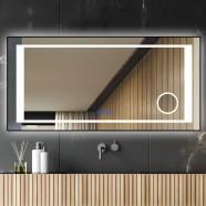 DECORAPORT 84 x 40 Po Miroir de Salle de Bain LED/Miroir Chambre avec Bouton Tactile, Loupe, Anti-Buée, Luminosité Réglable, Montage Vertical & Horizontal (KT01-8440)