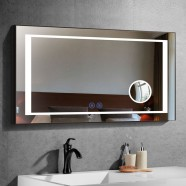 DECORAPORT 48 x 28 Po Miroir de Salle de Bain LED/Miroir Chambre avec Bouton Tactile, Loupe, Anti-Buée, Luminosité Réglable, Montage Horizontal (KT08-4828)