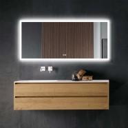 DECORAPORT 70 x 32 Po Miroir de Salle de Bain LED avec Bouton Tactile, Anti-Buée, Luminosité Réglable, Montage Vertical & Horizontal (D102-7032)