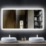 DECORAPORT 55 x 28 Po Miroir de Salle de Bain LED avec Bouton Tactile, Anti-Buée, Luminosité Réglable, Montage Vertical & Horizontal (D106-5528)