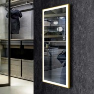 DECORAPORT 48 x 20 Po Miroir Chambre LED Pleine Longueur avec Bouton Tactile, Dorée de Luxe Légère, Luminosité Réglable, Lumière Froid & Chaud (DJ2-4820-G)