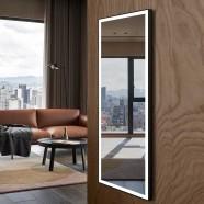 DECORAPORT 64 x 24 Po Miroir Chambre LED Pleine Longueur avec Bouton Tactile, Cadre noir, Luminosité Réglable, Lumière Froid & Chaud (DJ2-6424-B)