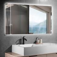 DECORAPORT 55 x 36 Po Miroir de Salle de Bain LED avec Bouton Tactile, Anti-Buée, Luminosité Réglable, Bluetooth, Montage Vertical & Horizontal (D521-5536A)
