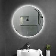 DECORAPORT 28 x 28 Po Miroir de Salle de Bain LED avec Bouton Tactile, Anti-Buée, Luminosité Réglable (D1002-2828)