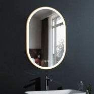 DECORAPORT 24 x 36 Po Miroir de Salle de Bain LED avec Bouton Tactile, Dorée de Luxe Légère, Anti-Buée, Luminosité Réglable, Montage Vertical & Horizontal (D1301-2436)