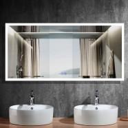 DECORAPORT 84 x 40 Po Miroir de Salle de Bain LED avec Bouton Tactile, Anti-Buée, Luminosité Réglable, Montage Vertical & Horizontal (D101-8440)