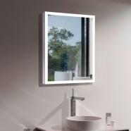 DECORAPORT 24 x 32 Po Miroir de Salle de Bain LED avec Bouton Tactile, Anti-Buée, Luminosité Réglable, Lumière froid & chaud, Montage Vertical & Horizontal (D123-2432B)