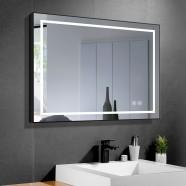 DECORAPORT 36 x 28 Po Miroir de Salle de Bain LED avec Bouton Tactile, Cadre noir, Anti-Buée, Luminosité Réglable, Montage Vertical & Horizontal (D613-3628)
