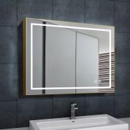 DECORAPORT 36 x 28 Po Miroir de Salle de Bain LED avec Bouton Tactile, Luxe Légère, Anti-Buée, Luminosité Réglable, Montage Vertical & Horizontal(D713-3628)