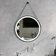 DECORAPORT 24 x 24 Po Miroir de Salle de Bain LED avec Bouton Tactile, Noire, Anti-Buée, Luminosité Réglable, Montage Vertical (D1601-2424)