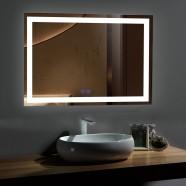 DECORAPORT 55 x 36 Po Miroir de Salle de Bain LED avec Bouton Tactile, Anti-Buée, Luminosité Réglable, Montage Vertical & Horizontal (D205-5536)
