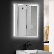 DECORAPORT 24 x 32 Po Miroir de Salle de Bain LED avec Bouton Tactile, Anti-Buée, Luminosité Réglable, Bluetooth, Montage Vertical & Horizontal (D414-2432)