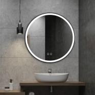DECORAPORT 32 x 32 Po Miroir de Salle de Bain LED/Miroir Chambre avec Bouton Tactile, Anti-Buée, Luminosité Réglable, Montage Vertical (D803-3232)