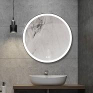 Decoraport 24 x 24 Po Miroir de Salle de Bain LED avec Bouton Tactile, Anti-Buée, Luminosité Réglable, Montage Vertical (D801-2424)