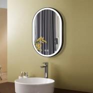 DECORAPORT 24 x 36 Po Miroir de Salle de Bain LED avec Bouton Tactile, Noire, Anti-Buée, Luminosité Réglable, Montage Vertical & Horizontal (D1301-2436)